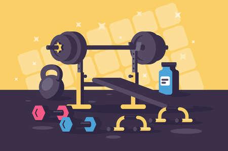 Sport equipments for heavy training sessions. Concept gym, hard work, body strengthening. illustration.