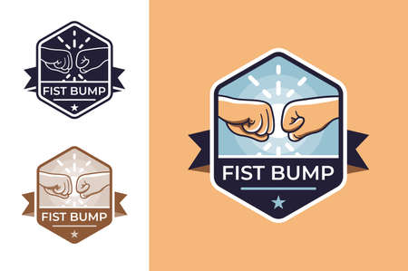 Badge for friendship with fist bump. Concept icons with hands, ribbon and bang. illustration. Stok Fotoğraf