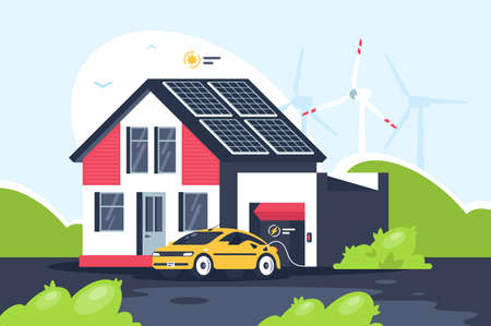 Smart eco house with electric car. Concept conservation of nature, next generation fuel. illustration. 写真素材