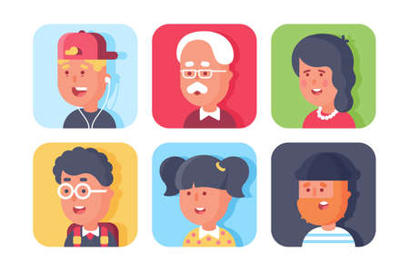 Set of avatars with faces. Concept icons collection with people, men, women, schoolboy, girl and boy. illustration.