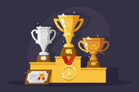First rewards with golden, silver and bronze cups. Concept hard work, achievement, big event. illustration.