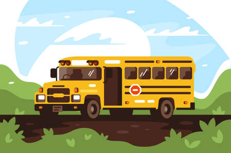 Empty school bus on trip, excursion. Concept vehicle with stop sign, child safety, school life. illustration.