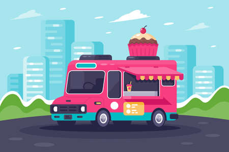 Flat urban van with sweets, cake and ice cream. Concept modern food delivery vehicle. illustration. Stock Photo