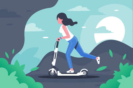 Young woman with long hair on electronic scooter. Concept girl silhouette is engaged in leisure, entertainment, vehicle. illustration. Stock Photo