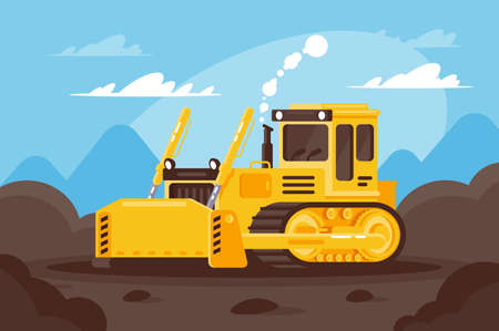 Bulldozer at a construction site surrounded by land. Reklamní fotografie
