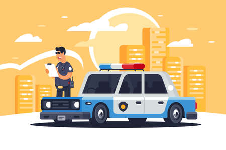 Urban modern sedan police car with policeman for protection of people on background of city. Reklamní fotografie