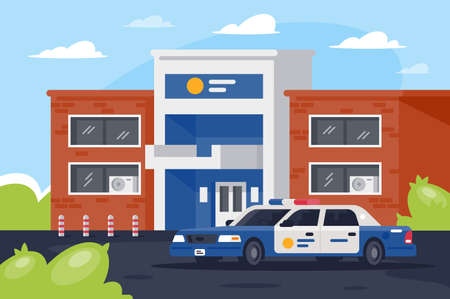Police station with car in working day.