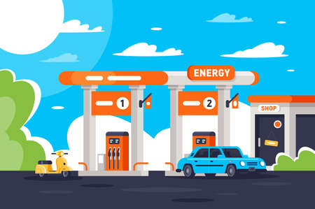 Flat gas station with shop, modern urban car, moped. Concept eco vehicle refueling, top-up. illustration. Stock Photo