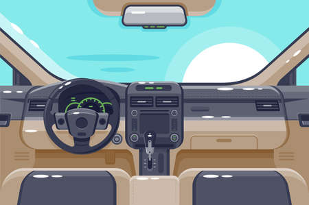 Flat insides of car interior with transmission, steering wheel, glove box, electronics and dashboard. Concept vehicle, automobile for drive, journey, trip. illustration. Banque d'images - 131336093