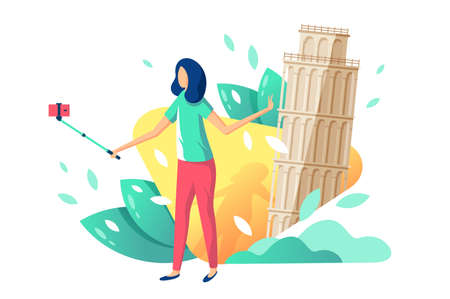 Flat young beauty girl tourist with selfie stick, cellphone on background with tower of pisa. Concept isolated relax woman in trip, journey, summer season. illustration. 版權商用圖片