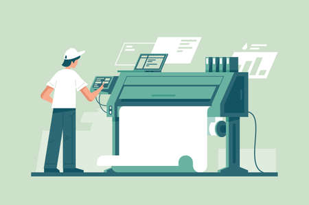 Young man working in typography at print to printer. Concept employee character, electronic device, laptop and computer, paint service. illustration. Stock Photo