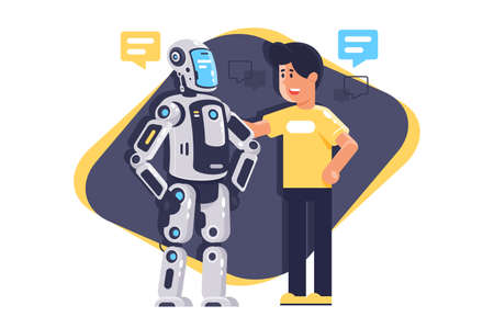 Flat young man talking to robot with speech bubble, robot and people. Concept friend, technological development, new near future, modern acute problem. illustration.