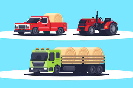 Flat agricultural machinery with stack of hay for harvesting, crop delivery and pickup truck for freight transportation. Concept heavy vehicle, public works. illustration. Stock Photo