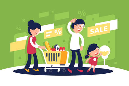 Flat big family with mother, father and child, daughter at mall. Concept buying products, store sale, family leisure, holiday. illustration. Stock Photo