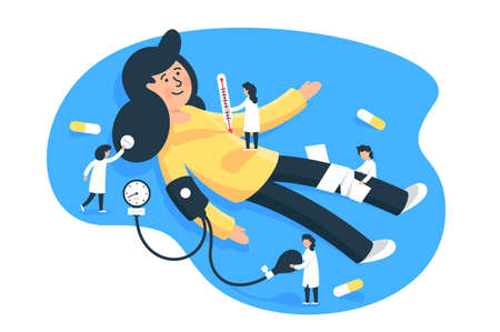 Flat young woman patient with little man doctors. Concept isolated characters with pills, thermometer, tonometer, health diagnosis. illustration.