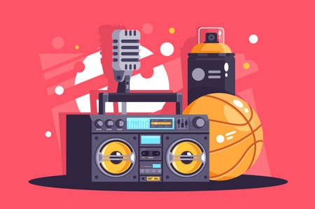 Flat hip-hop equipment with spray, microphone, basketball, boombox. Concept street culture, rap style. illustration Фото со стока