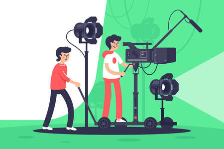 Smiling men filming movie with special equipment. Concept friends with cinema camera, microphone, spotlights. illustration.