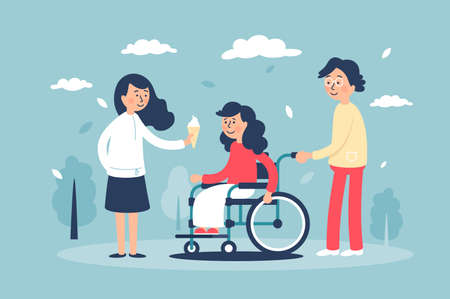 Young cute smiling woman in wheelchair with family and friends. Concept fun girl eating ice cream, disabled child. illustration.