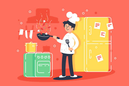 Flat young man cooks, fry in kitchen in professional uniform. Concept food, profession, toque, kitchen interior. illustration. Stockfoto