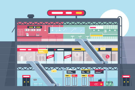 Flat shopping center section with clothing shop, fast food and products. Concept business supermarket, building architecture, store. illustration.