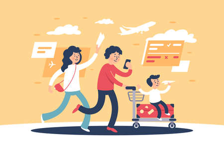Flat parent with child and travel personal items late for plane. Concept young woman, girl and man, family on vacation, journey, aircraft. illustration.