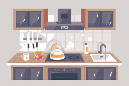 Flat kitchen equipment with knife, exhaust hood, oven, washer, teapot. Concept kitchenware with cup of tea, jam. illustration. Stock Photo
