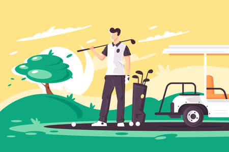 Flat young man with golf club, car on green field. Concept businessman character with sport wear, relaxation and occupation. Health care lifestyle. illustration.