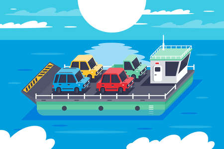 Isometric 3d barge carrying colors classic hatchback, sedan cars. Concept vehicle on water, sea transportation. Low poly. illustration.