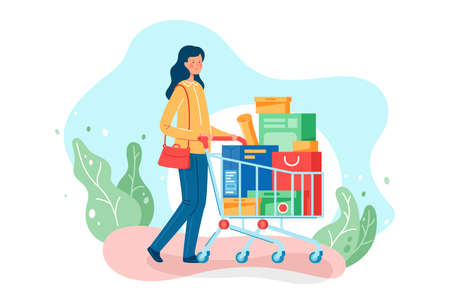 Flat young beautiful woman with long hair, bag and shopping trolley goes home. Isolated concept girl character with boxes with clothes, food and equipment. illustration.