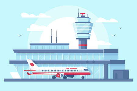 Flat airplane in airport on runway near building with tower. Concept plane vehicle with people, air trip. illustration.
