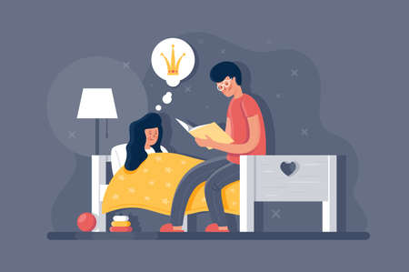 Adult man reading book about princess his young daughter. Concept flat girl with father, children s room with toys, bed and lamp night light. illustration.