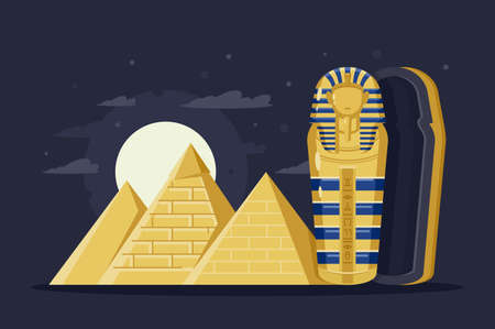 Flat night ancient Egypt with pyramids, moon and Pharaoh s sarcophagus. Concept trip, mysterious overseas attractions. illustration.