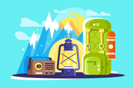 Flat hiking and travelling equipment with backpack, lamp, radio. Concept mountain journey, outdoor trip, adventure. illustration.