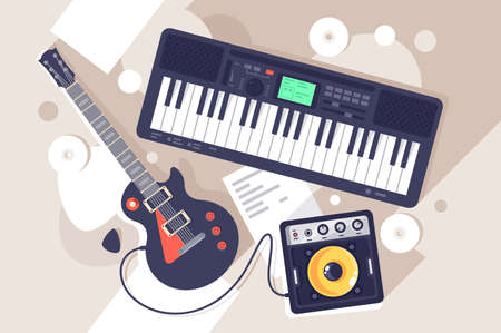 Flat music equipment with electrric guitar, synthesizer. Concept tool on disk and paper text backround, art creation. illustration.