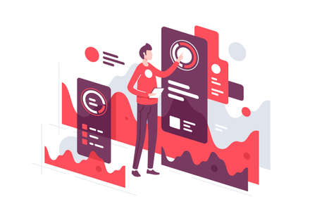 Handsome young businessman monitoring web interface indicators. Isolated concept man character working with online page using tablet and modern device. Vector illustration.