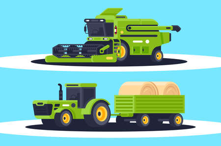 Flat agricultural machinery with stack of hay for harvesting, crop delivery. Concept heavy vehicle, public works. illustration. Foto de archivo