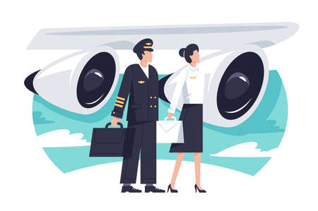 Flat man and woman aircrew in background aircraft engine. Concept characters with uniform, service, pilot and stewardess. illustration.