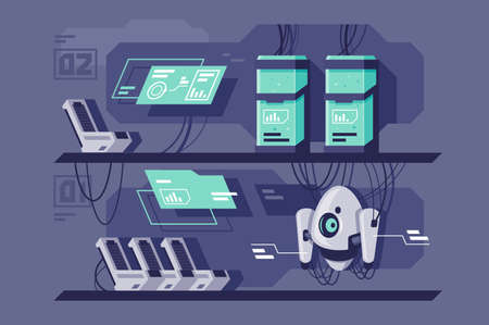 Flat research center with futuristic robot, computers and database. Concept analytics device with diagram, modern technology. illustration.