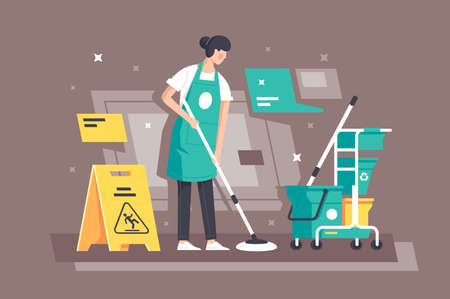 Flat young woman at work in cleaning services with special equipment. Concept girl characters, student employee, yellow wet floor sign. illustration. Imagens