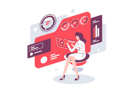 Work with data in cloud using online and folder, database. Concept businesswoman character working with diagram, e-data using modern device. Vector illustration.