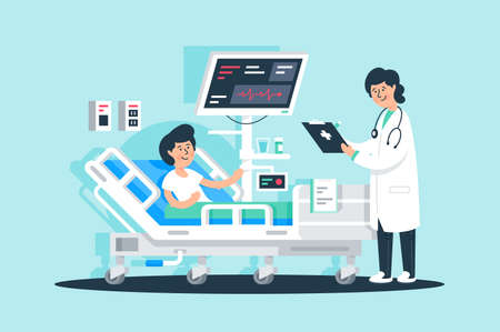Flat young woman doctor with tablet and patient near medical equipment. Concept man and girl characters with modern technology for medicine. illustration. Archivio Fotografico - 131336124