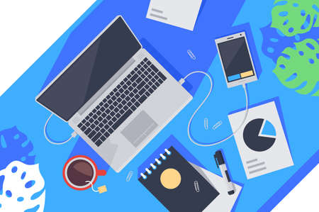 Flat desktop top view with laptop, tea, notebook, mobile phone and diagram. Concept workplace, workspace with special equipment for freelance. illustration.