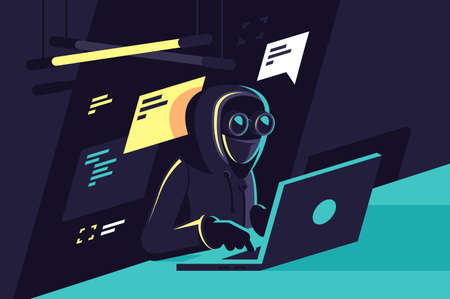 Flat young hacker programmer with laptop hacks programms and site. Concept modern man character, network security. illustration.