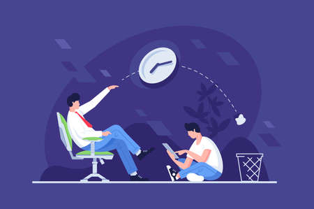 Flat young men in suit throws paper and sitting in tablet. Concept businessman character relax in office, relationship in warkplace. illustration.