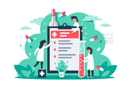 Flat composition with man and woman with medical gown and tablet. Concept characters with pills, medical fluid and first aid. illustration.