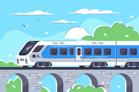 Train rushing out of city in long way. Concept rail vehicle moving on the railway bridge to tourism or trip on nature background with blue sky. Urban background. illustration.
