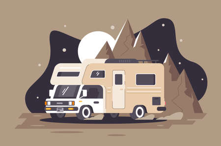 Motor home on rest on night mountain background. Concept house on wheels, holiday, travel vehicle. illustration. Banco de Imagens