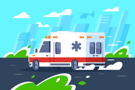 Flat hospital car fast driving is in a hurry to call. Concept support service vehicle, state organization helping people. illustration.