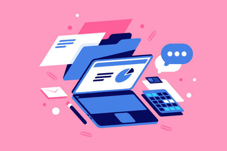 Flat workplace with doc, laptop, graph, message, post and mail icon. Concept mobile device, office technology on pink background. illustration. Zdjęcie Seryjne