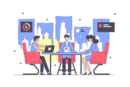 Businessman and businesswoman working at meeting negotiation in office. Concept man and woman employee character using workspace with laptop and document on isolated background. illustration. Stockfoto